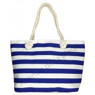 Sac de plage rayé style marinière bleu.