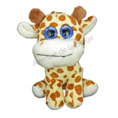 Peluche girafe 17 cm avec yeux bleus pailletés.