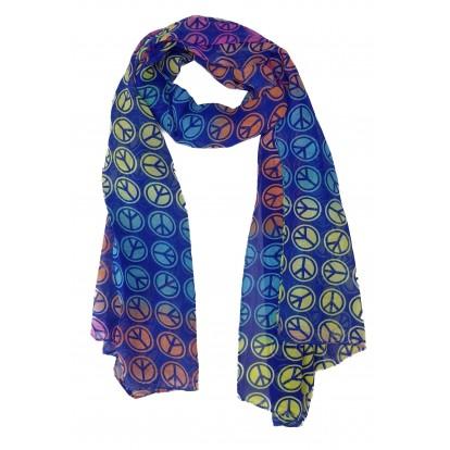 Foulard symbole de la paix multicolore et bleu.