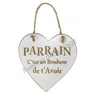 """Coeur en bois """"Parrain"""" à accrocher"""