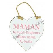 """Coeur en bois """"Maman"""" à accrocher"""