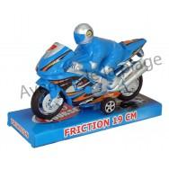 Grosse Moto à friction + Pilote 19 cm