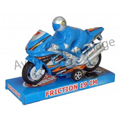 Grosse Moto à friction + Pilote 19 cm bleue.