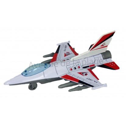 Avion de chasse en métal 10 cm blanc.