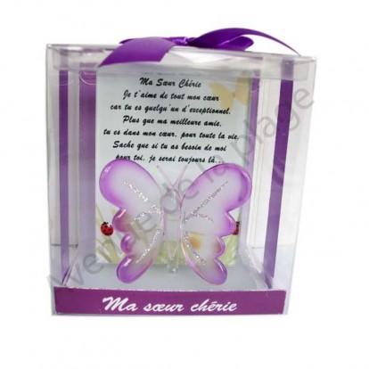 Figurine Papillon porte bonheur Ma Soeur Chérie