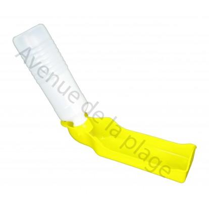 Gourde avec distributeur d'eau pour chien jaune.