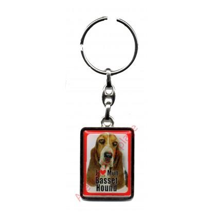 Porte clef métal J'aime mon Basset Hound