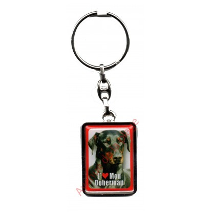 Porte clef chien J'aime mon Doberman