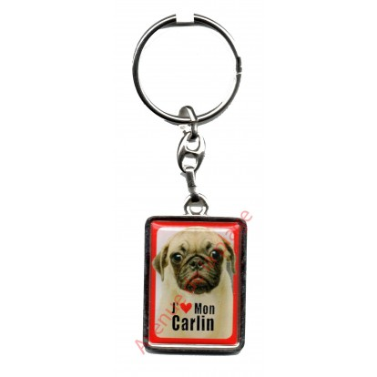 Porte clef J'aime mon Carlin