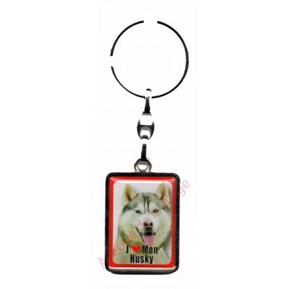 Porte clef J'aime mon Husky