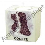 Bougeoir chien - Cocker noir et blanc