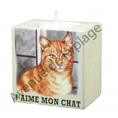 Bougeoir J'aime mon chat gingembre.