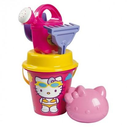 Seau garni Hello Kitty diamètre 17 cm rose.