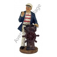 Figurine Marin capitaine avec barre à roue 12.5 cm