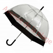 Parapluie cloche transparent noir.