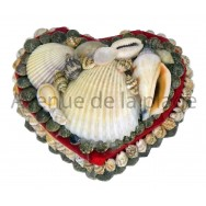 Boîte à bijoux coeur en coquillages