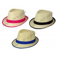 Chapeau Borsalino Paille bordure colorée