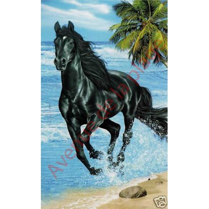 """Serviette de plage microfibre """"Cheval noir sur la plage"""""""
