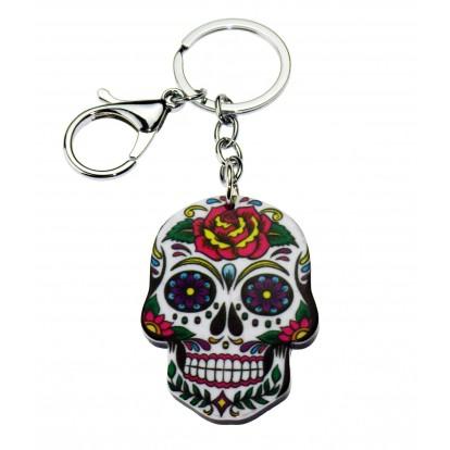 Porte clés Tête de mort Mexicaine blanche.