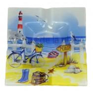 Cendrier en verre paysage marin : la plage