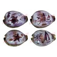 Coquillage Tigrine gravée décor marin