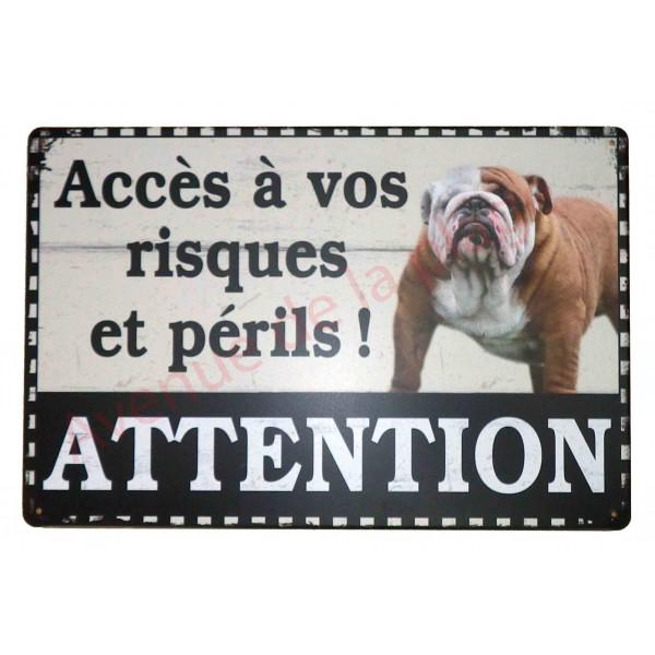 plaque chien acc s vos risques et p rils avenue de la plage. Black Bedroom Furniture Sets. Home Design Ideas