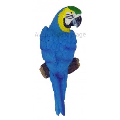 Perroquet à accrocher 16 cm bleu.