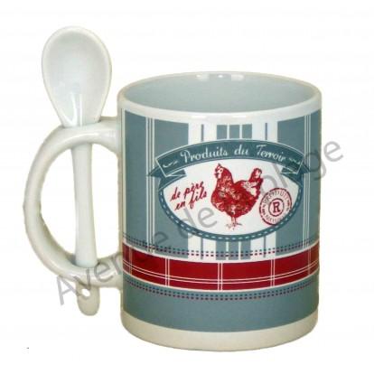 Tasse mug avec cuillère poule - Produits du terroir