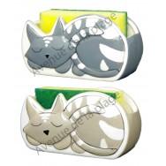 """Porte éponge en céramique """"Chacha"""" décor petit chat."""