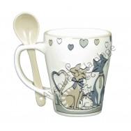 Mug avec cuillère famille de chats