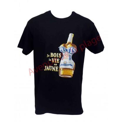 """T-shirt humoristique """"Je bois la vie en jaune"""""""