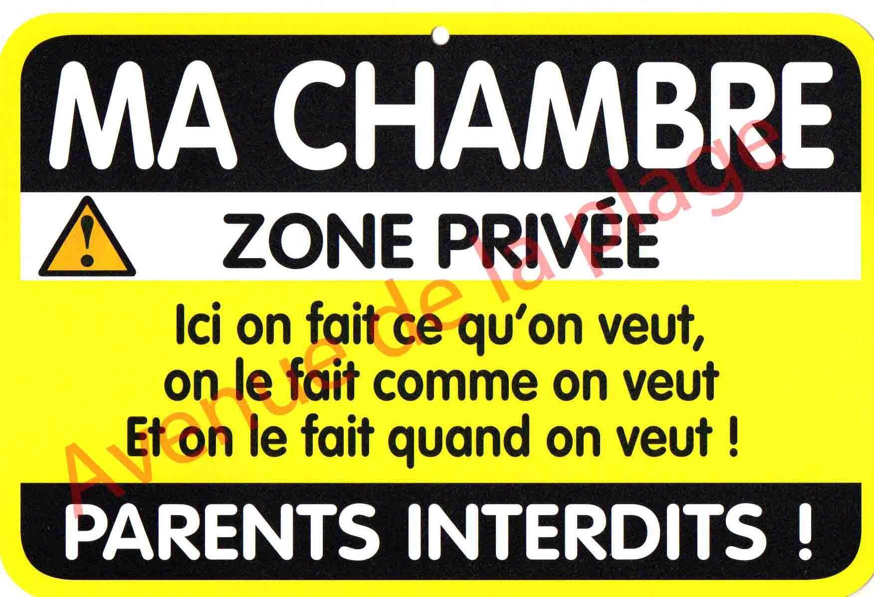 """Plaque de porte Danger """"Ma chambre"""" Achat Vente Avenue de la plage"""