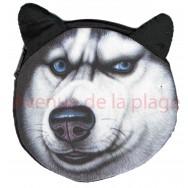 Porte-monnaie tête de chien Husky