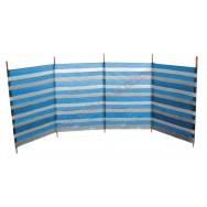 Paravent de plage 400 x 100 cm rayé bleu et blanc.