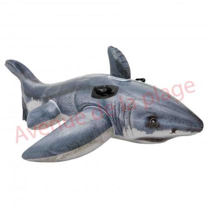 Grand requin blanc gonflable à chevaucher 173 cm