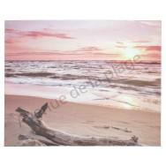 Toile imprimée : Couché de soleil sur la plage