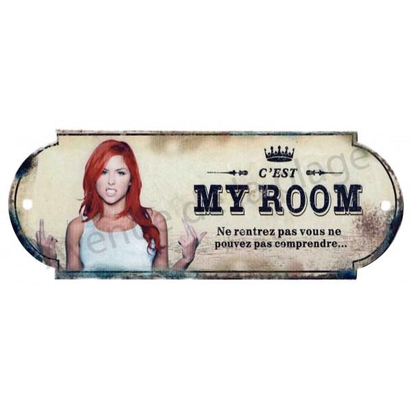 Plaque de porte chambre my room plaque humoristique for Plaque pour porte de chambre