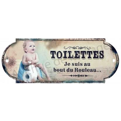 Plaque de porte Toilettes - Je suis au bout du rouleau