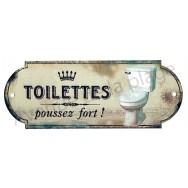 Plaque de porte Toilettes - Poussez fort