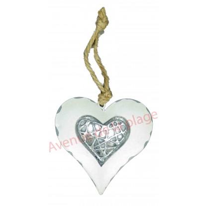 Coeur en métal à suspendre blanc et gris, modèle A.