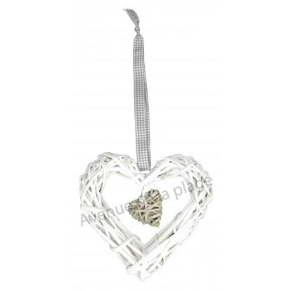 Double coeur en osier à suspendre blanc.