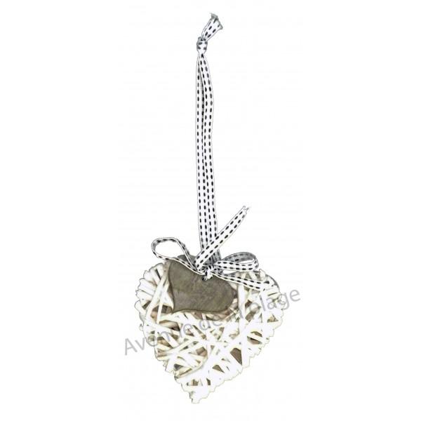 Coeur en osier suspendre decoration romantique pas cher - Coeur en osier ...