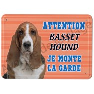 Pancarte métal Attention au chien - Basset Hound