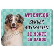 Pancarte métal Attention au chien - Berger Australien