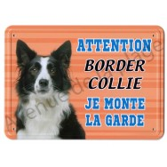 Pancarte métal Attention au chien - Border Collie