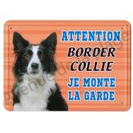 Pancarte métal Attention au chien - Border Collie