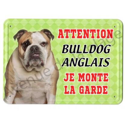 Pancarte métal Attention au chien - Bulldog Anglais