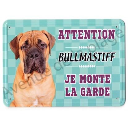 Pancarte métal Attention au chien - Bullmastiff
