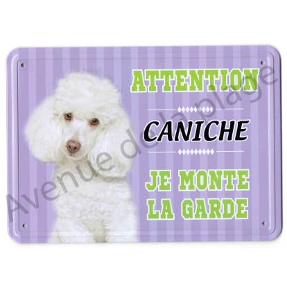Pancarte métal Attention au chien - Caniche blanc