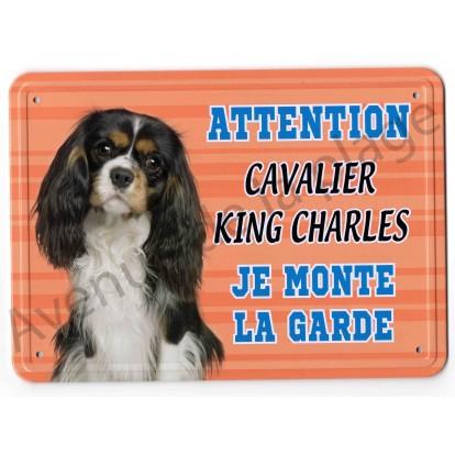 Pancarte métal Attention au chien - Cavalier King Charles Tricolore